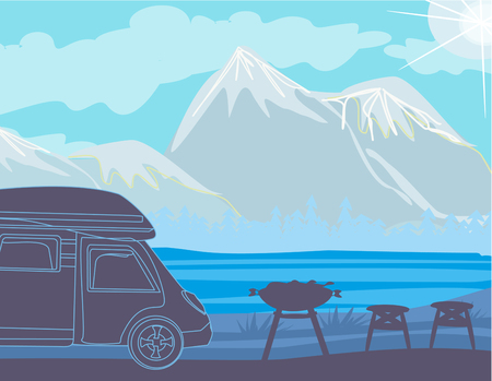 Summer picnic in the mountains Vector illustration.