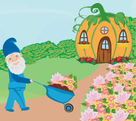 Gnome ist Gartenarbeit außerhalb seines Hauses Standard-Bild - 94024676