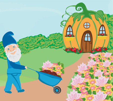 Gnome is gardening outside his house