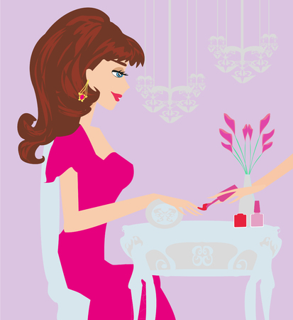 Young lady doing manicure in beauty salon illustration.