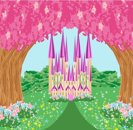 Castelo de princesa de conto de fadas mágico Foto de archivo - 94663901