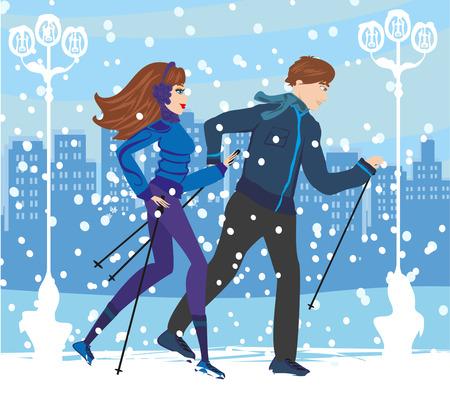 Couple Nordic walking in winter 向量圖像