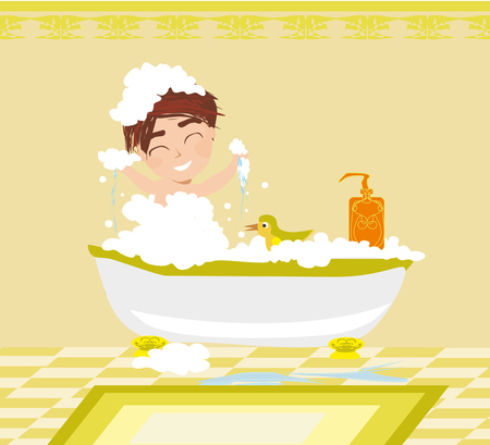 Baby boy taking bath and playing