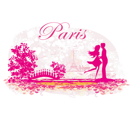 Romantic couple in Paris - abstract card Illustration