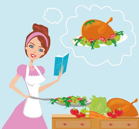 Mooie dame met kookboek Vector Illustratie
