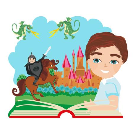 Boy reading magic book illustration
