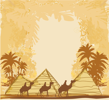 Vintage background with pyramids