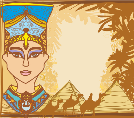 Vintage frame with Egyptian queen Illustration