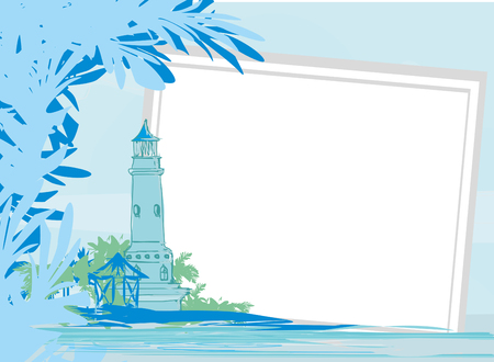 Lighthouse seen from a tiny beach - frame Vector illustration.