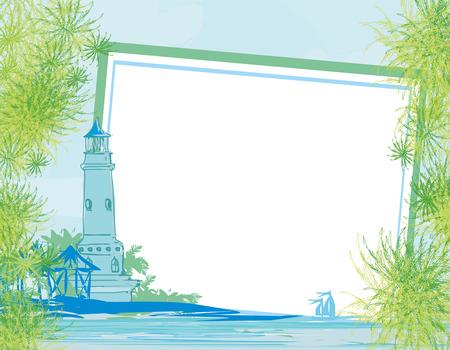 Lighthouse seen from a tiny beach card
