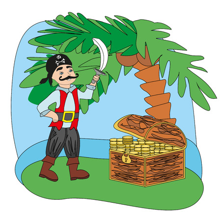 Pirate with a sword in his hand Vector illustration. Ilustrace