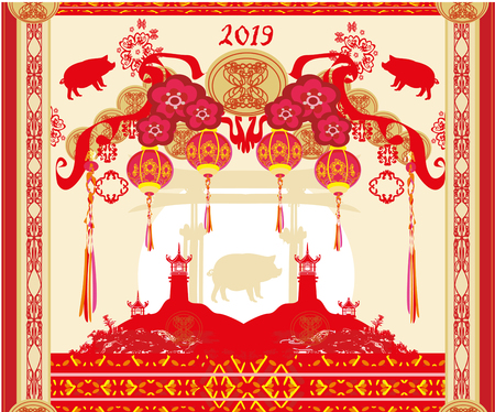 Chinese zodiac the year of Pig - frame Vector illustration.