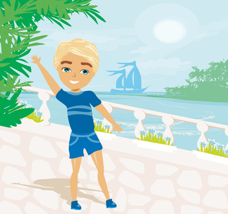 boy on vacation and with great scenery at the back  イラスト・ベクター素材