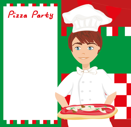 Chef with pizza - Abstract card with space for Your text