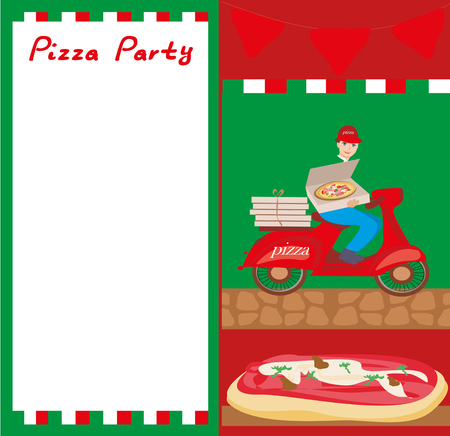 Pizza delivery man on a motorcycle -  Abstract card with space for Your text