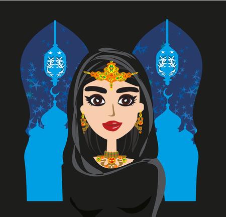 Portrait of muslim beautiful girl in hijab Vector illustration. Illustration