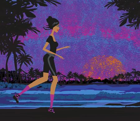 Jogging in the sunset illustration.
