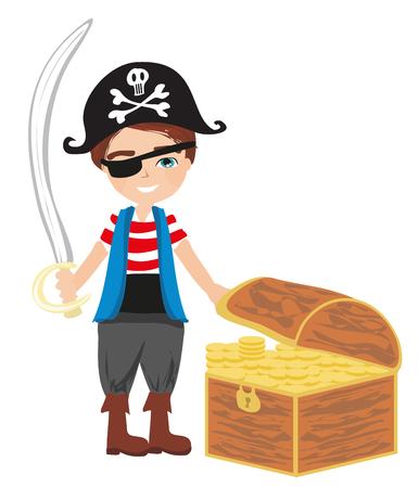 Boy using pirate costume holding sword illustration.