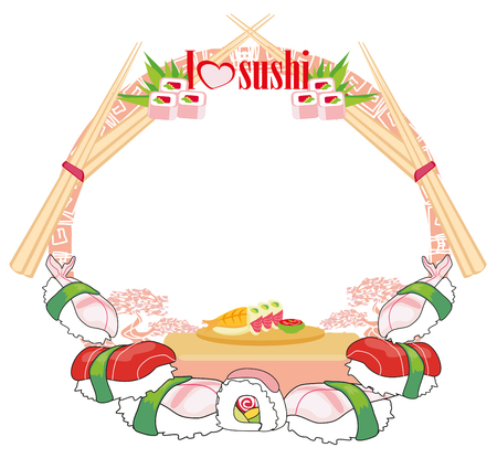 Sushi - artistic frame Иллюстрация