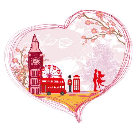 Romantic couple in London, card Illustration