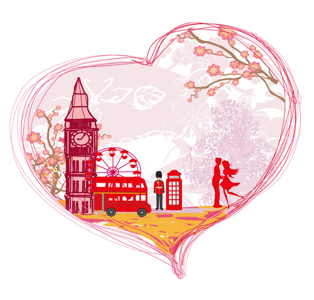 Romantic couple in London, card Illustration