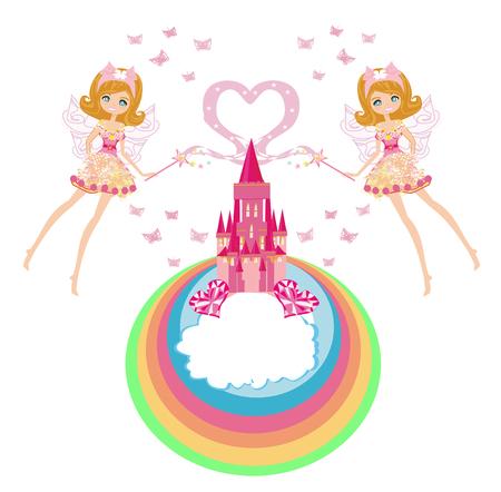 Fairy flying above castle - frame