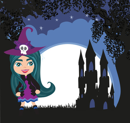 Halloween young girl witch with castle illustration.