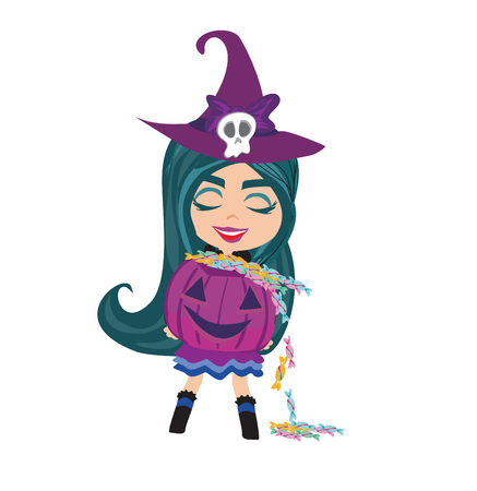 Sweet witch standing with pumpkin illustration.