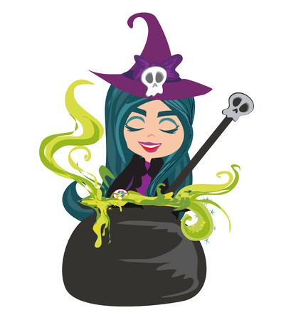 Cute witch preparing potion vector illustration.