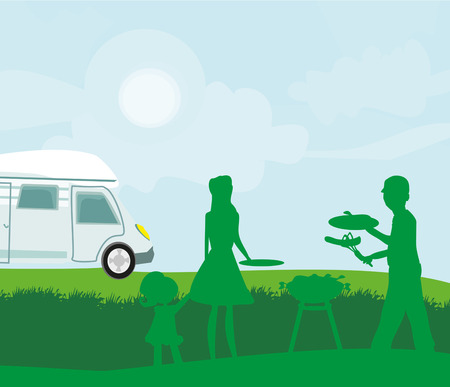 Illustration of a family having a picnic.