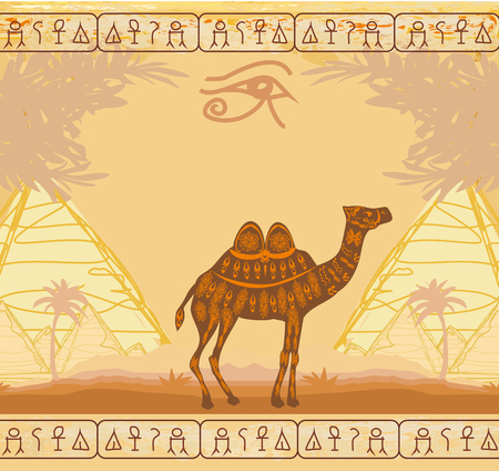 Vintage background with pyramids giza and camel Иллюстрация