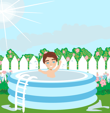 Garden with boy in pool