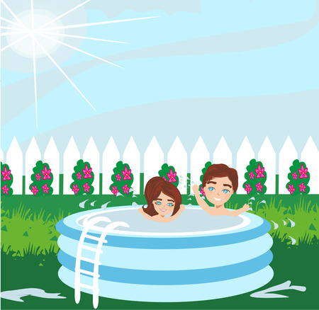 boy and girl playing in inflatable baby pool
