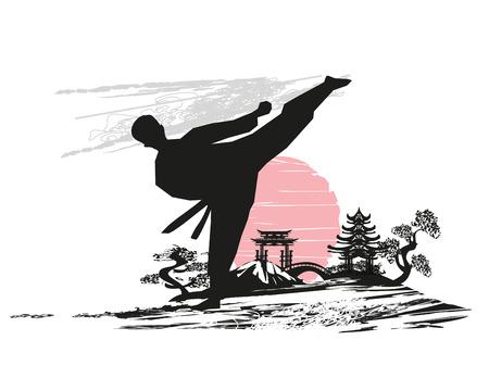 Kreatywne streszczenie ilustracji wojownika karate Ilustracje wektorowe