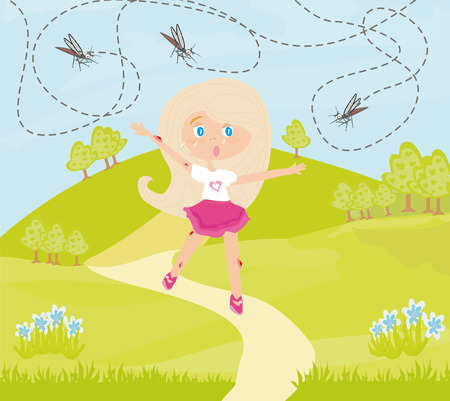 Girl runs away from mosquitoes Illustration