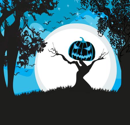 Pumpkin scarecrow at night