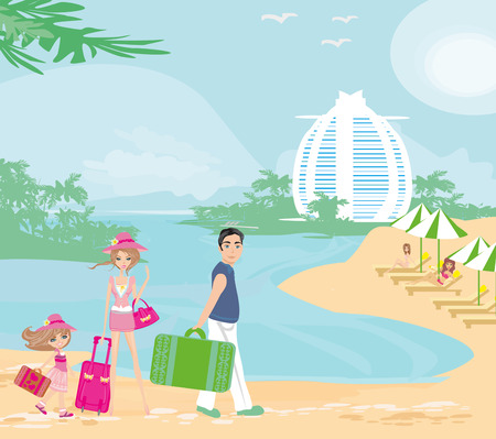 family vacation in the tropics Illustration