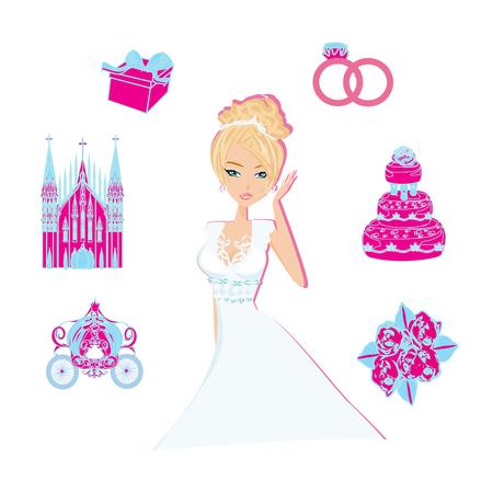 Beautiful bride illustration  イラスト・ベクター素材