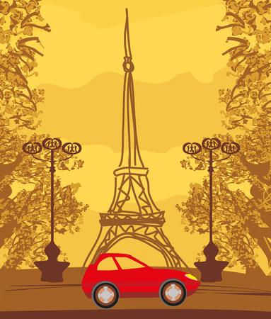 Vintage retro Eiffel tower card