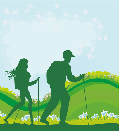 Nordic walking in spring