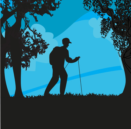 Nordic walking - active man exercising outdoor 向量圖像