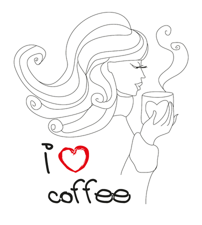 I love coffee card - girl with cup of coffee Illustration