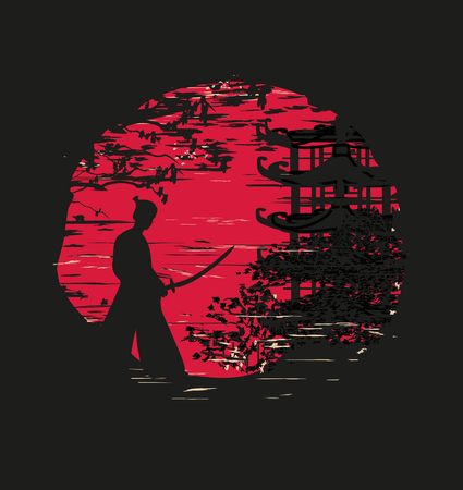 Japanese Samurai fighter silhouette