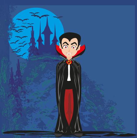 Vampiro de dibujos animados con un castillo de fondo