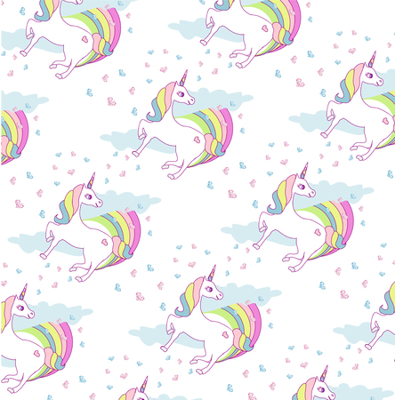 Seamless pattern with cute unicorns and rainbow Vectores