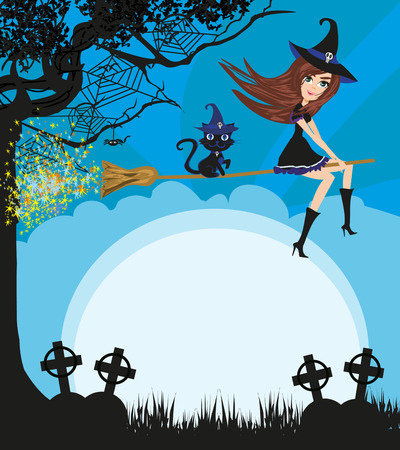 Witch flying on a broom in moonlight - frame  イラスト・ベクター素材