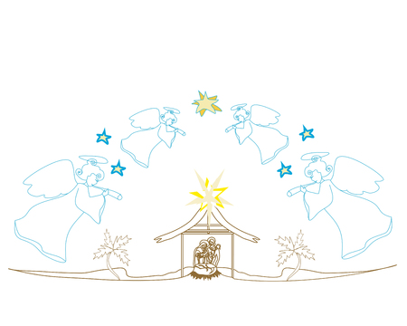 Christmas Angels. Christmas religious nativity scene card Illustration