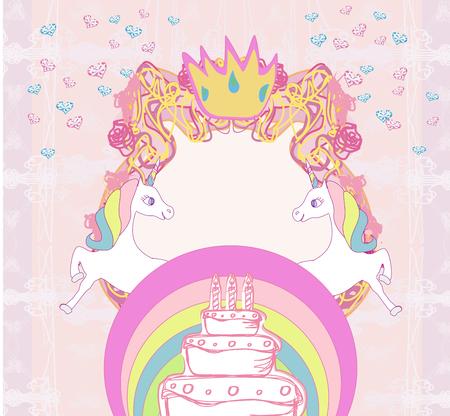 Frame with unicorns and birthday cake