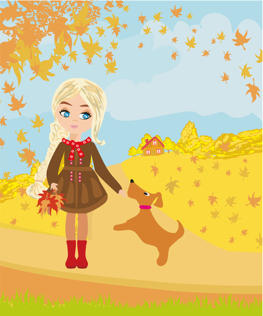 Girl playing with her dog in autumn