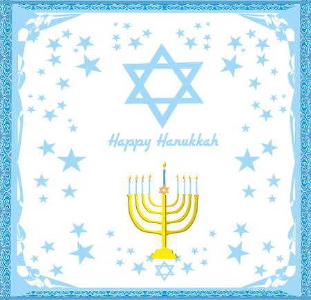 Hanukkah Greeting Card. Vectores